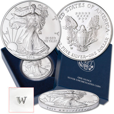 Image for 2016-W Burnished American Eagle Silver Dollar from Littleton Coin Company
