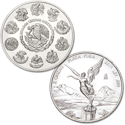Image for 2015 Mexico 2 oz. Silver Libertad from Littleton Coin Company