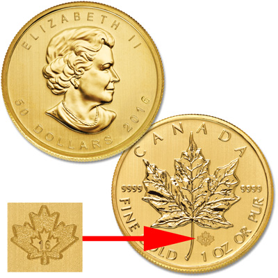 Image for 2016 Canada Gold 1 oz. $50 Maple Leaf from Littleton Coin Company