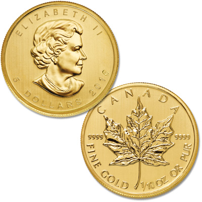 Image for 2016 Canada Gold 1/10 oz. $5 Maple Leaf from Littleton Coin Company