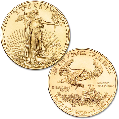 Image for 2016 $5 1/10 oz. Gold American Eagle from Littleton Coin Company