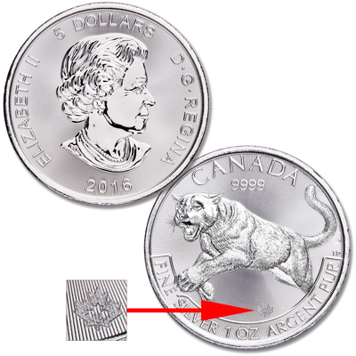Image for 2016 Canada 1 oz. Silver $5 Cougar from Littleton Coin Company