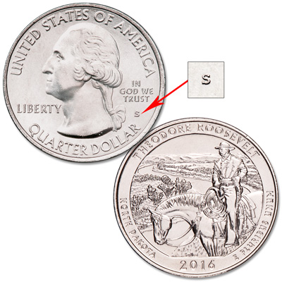 Image for 2016-S Unc. Theodore Roosevelt National Park Quarter from Littleton Coin Company