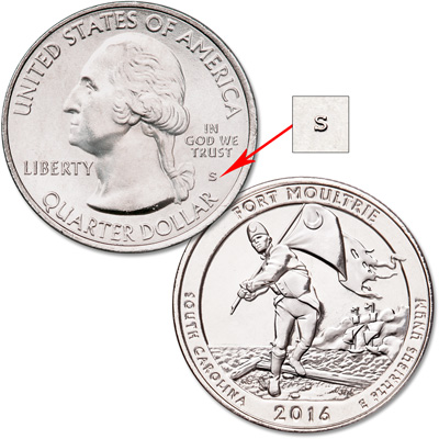 Image for 2016-S Unc. Fort Moultrie (Fort Sumter National Monument) Quarter from Littleton Coin Company