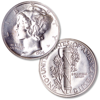 Image for 1936 Mercury Silver Dime from Littleton Coin Company