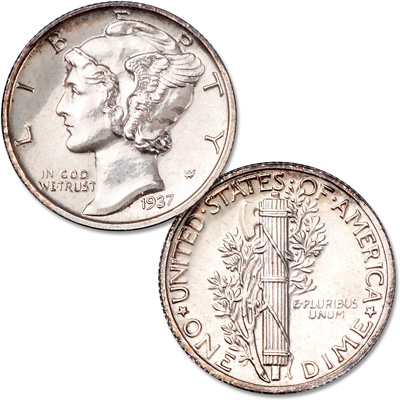 Image for 1937 Mercury Silver Dime from Littleton Coin Company