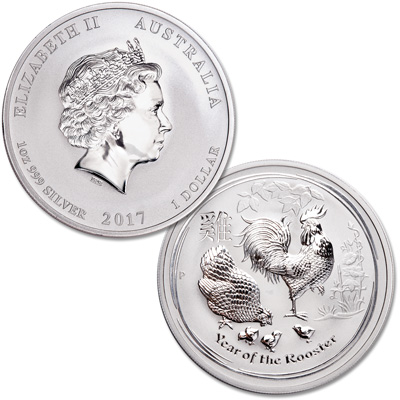 Image for 2017 Australia Silver $1 Lunar Series II - Year of the Rooster from Littleton Coin Company
