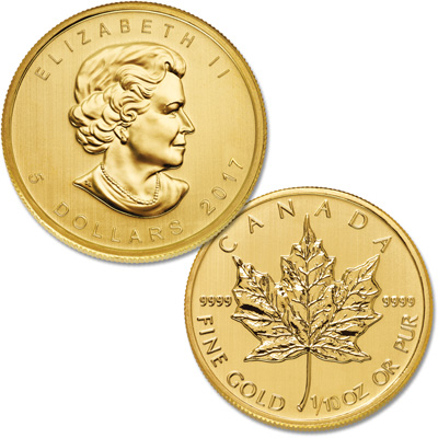 Image for 2017 Canada Gold 1/10 oz. $5 Maple Leaf from Littleton Coin Company