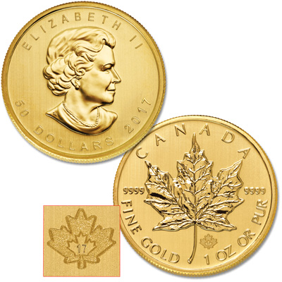 Image for 2017 Canada Gold 1 oz. $50 Maple Leaf from Littleton Coin Company