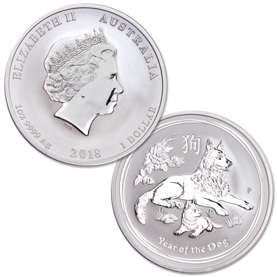Image for 2018 Australia Silver $1 Lunar Series II - Year of the Dog from Littleton Coin Company