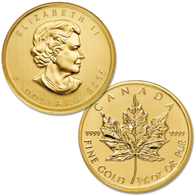 Image for 2018 Canada Gold 1/10 oz. $5 Maple Leaf from Littleton Coin Company