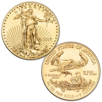 Image for 2018 $5 1/10 oz. Gold American Eagle from Littleton Coin Company