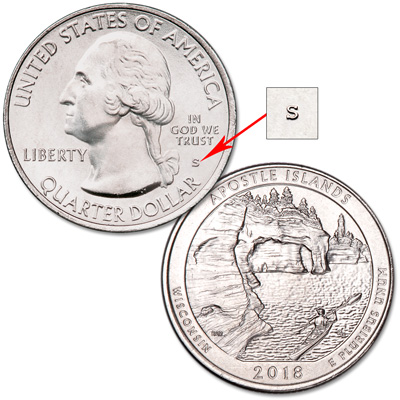 Image for 2018-S Unc. Apostle Islands National Lakeshore Quarter from Littleton Coin Company