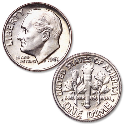 Image for 1949-S Roosevelt Silver Dime from Littleton Coin Company