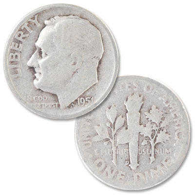 Image for 1951-D Roosevelt Silver Dime from Littleton Coin Company
