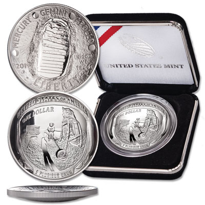 Image for 2019-P Apollo 11 Moon Landing 50th Anniversary Commemorative Silver Dollar from Littleton Coin Company