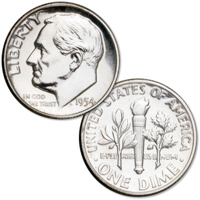 Image for 1954 Roosevelt Silver Dime from Littleton Coin Company