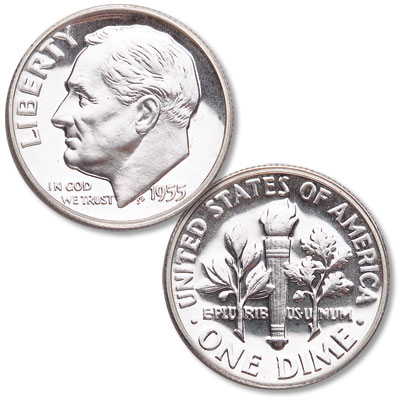 Image for 1955 Roosevelt Silver Dime from Littleton Coin Company