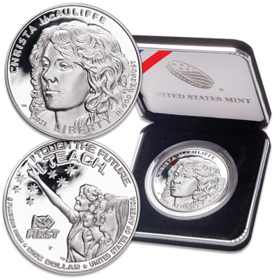 Image for 2021-P Christa McAuliffe Silver Dollar from Littleton Coin Company