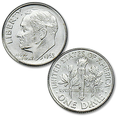 Image for 1963 Roosevelt Silver Dime from Littleton Coin Company