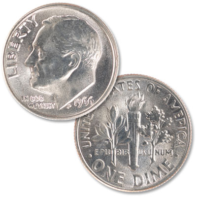 Image for 1966 Roosevelt Dime from Littleton Coin Company