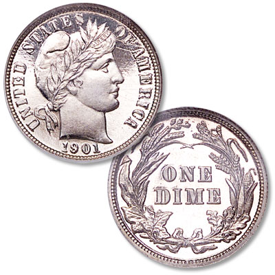 Image for 1901 Barber Silver Dime from Littleton Coin Company