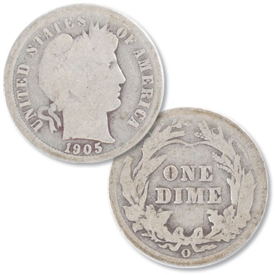 Image for 1905-O Barber Silver Dime from Littleton Coin Company