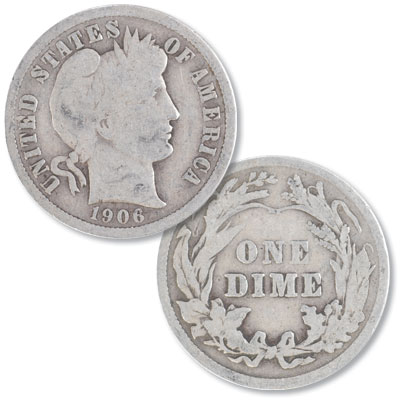 Image for 1906 Barber Silver Dime from Littleton Coin Company