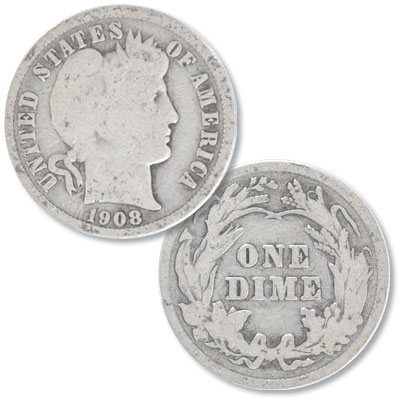 Image for 1908 Barber Silver Dime from Littleton Coin Company