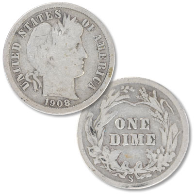 Image for 1908-S Barber Silver Dime from Littleton Coin Company