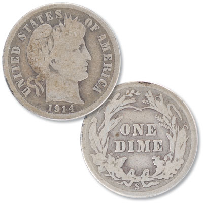 Image for 1914-S Barber Silver Dime from Littleton Coin Company
