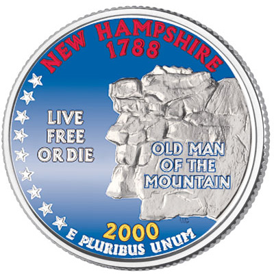 Image for 2000 Colorized New Hampshire Statehood Quarter from Littleton Coin Company