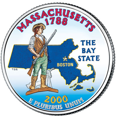 Image for 2000 Colorized Massachusetts Statehood Quarter from Littleton Coin Company