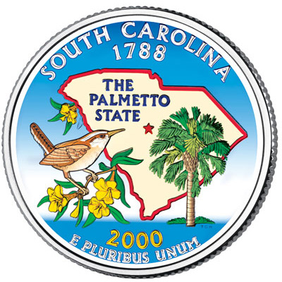 Image for 2000 Colorized South Carolina Statehood Quarter from Littleton Coin Company