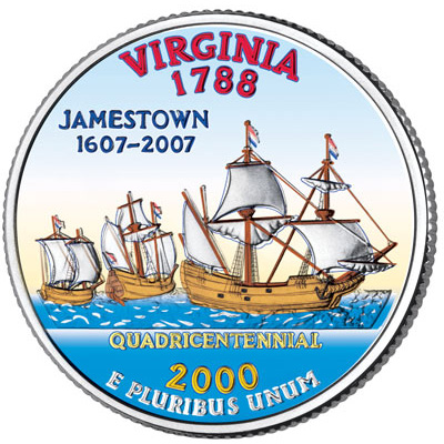 Image for 2000 Colorized Virginia Statehood Quarter from Littleton Coin Company