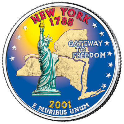 Image for 2001 Colorized New York Statehood Quarter from Littleton Coin Company