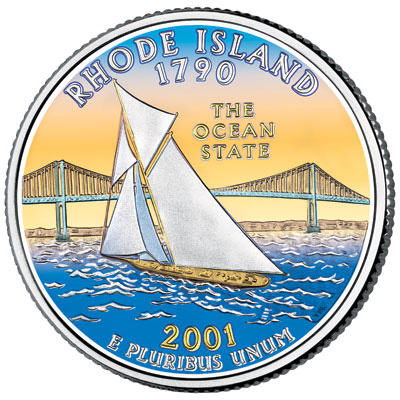Image for 2001 Colorized Rhode Island Statehood Quarter from Littleton Coin Company
