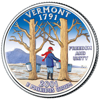 Image for 2001 Colorized Vermont Statehood Quarter from Littleton Coin Company