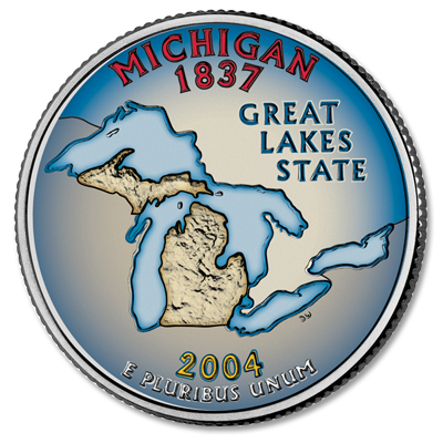 Image for 2004 Colorized Michigan Statehood Quarter from Littleton Coin Company