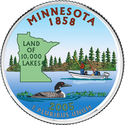 Image for 2005 Colorized Minnesota Statehood Quarter from Littleton Coin Company