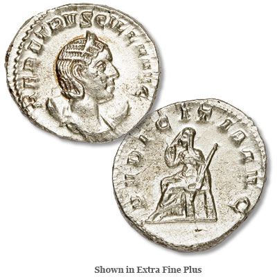Image for A.D. 249-253 Herennia Etruscilla Silver Antoninianus from Littleton Coin Company