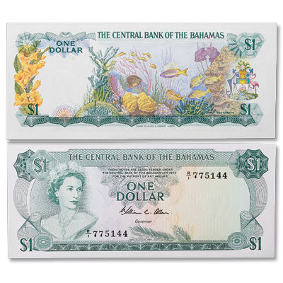 Image for 1974 Bahamas 1 Dollar, P#35b from Littleton Coin Company