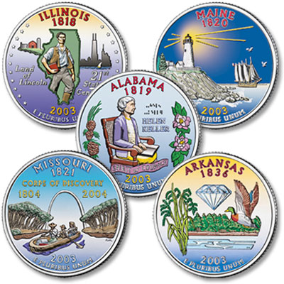 Image for 2003 Colorized Statehood Quarter Year Set from Littleton Coin Company