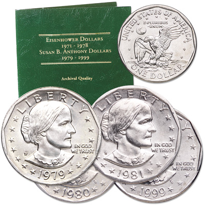 Image for 1979-1999 Susan B. Anthony Dollar Year Set (4 coins) from Littleton Coin Company