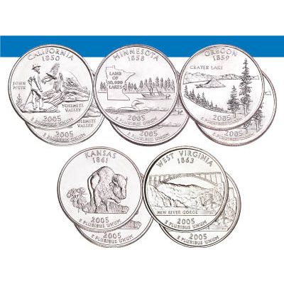Image for 2005 P&D Statehood Quarter Year Set (10 coins), Uncirculated, MS60 from Littleton Coin Company