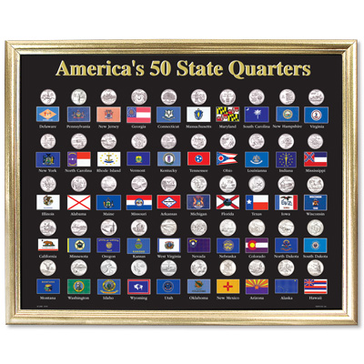 Image for 50 State Framed Flag Display for Quarters from Littleton Coin Company