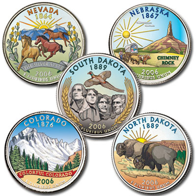 Image for 2006 Colorized Statehood Quarter Year Set from Littleton Coin Company