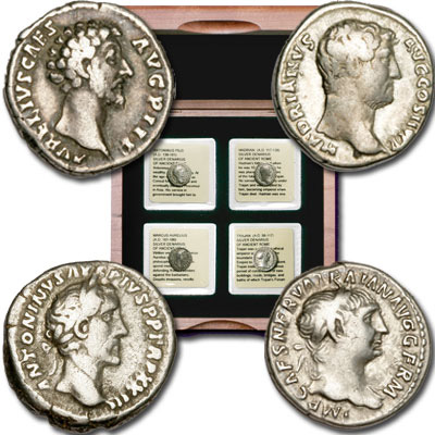 Image for A.D. 98-180 Four Good Emperors Silver Denarii Set from Littleton Coin Company