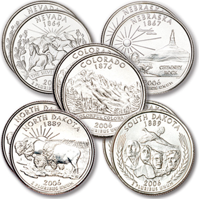 Image for 2006 P&D Statehood Quarter Year Set (10 coins), Uncirculated, MS60 from Littleton Coin Company