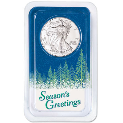 Image for 2018 Silver American Eagle in Season's Greetings Showpak from Littleton Coin Company